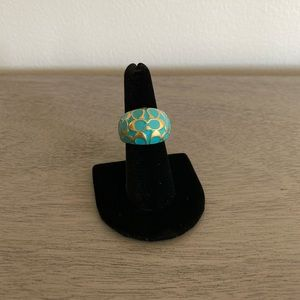 Coach Turquoise and Gold Ring Size 8